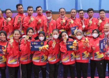 Tim Sepak Takraw uadrant putra dan putri Sulsel berhasil mengawinkan Medali Emas pada PON XX Papua/Foto: Ciwa Abunawas
